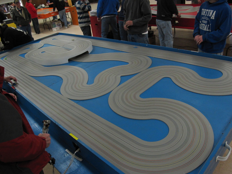 Blue track.  2 straights, 2 humps, blind corners and a lot of marshalling.